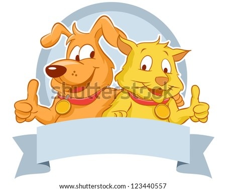Happy dog and cat with blank banner smiling while their thumbs up.