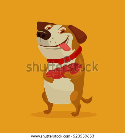 Happy dog character hold sausage. Vector flat cartoon illustration
