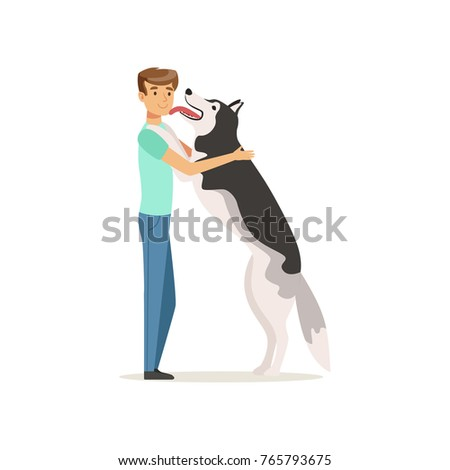 happy dog licking man s face