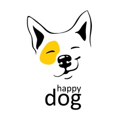 happy dog logo with yellow accent on left eye. Smile smirk on his face. Thin black lines. Cute smiling hound. Hand-draw vector isolated on background. For logo emblem emoji emoticons, mascot.