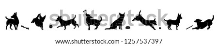 Happy dog playing with ball black silhouette vector isolated on white background