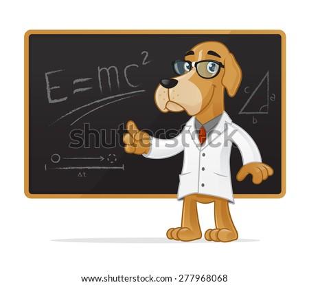 happy dog scientist mascot