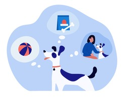 Happy dog thinking about game, food and owner. Bone, life, ball flat vector illustration. Domestic animals and pets concept for banner, website design or landing web page