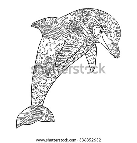 Happy dolphin with high details. Adult antistress coloring page. Black white hand drawn doodle oceanic animal for art therapy. Sketch for tattoo, poster, print, t-shirt in zentangle style.