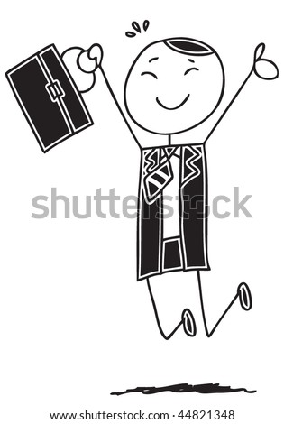 Happy doodle businessman