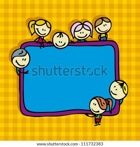 Happy doodle children around school blackboard