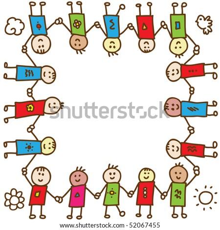Happy doodle children holding hands