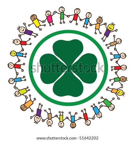 Happy doodle kids holding hands around a four leaf clover