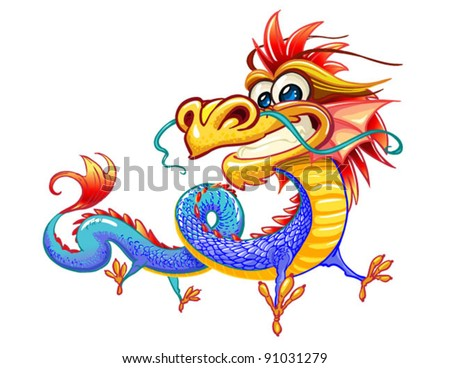 happy dragon on white background