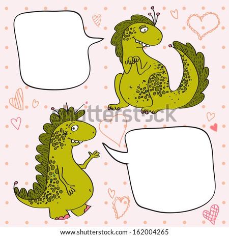 happy dragons cartoon  vector