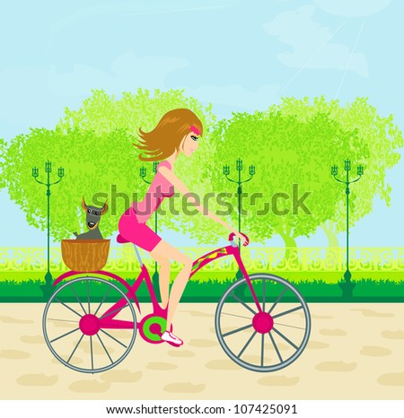 Happy Driving Bike with Cute Girl - stock vector