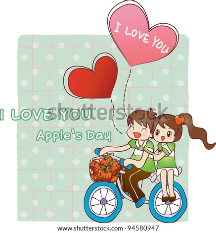 Happy Driving Bike with Cute Smiling Young Boy and Sweet Girl on a background of green pattern