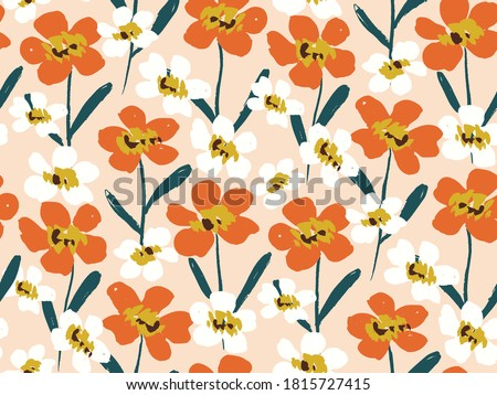 Happy dry painted blooms seamless vector pattern. Joyous flowers in orange and white flower on peach. Colorful hand painted floral . Great for home decor, fabric, wallpaper, stationery, design project ストックフォト ©