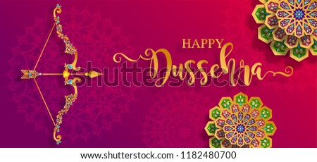 Happy Dussehra festival card with gold arrow patterned and crystals on paper color Background.   - Shutterstock ID 1182480700