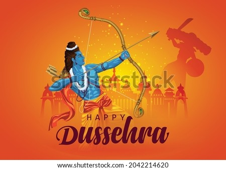 Happy Dussehra festival of India. of Lord Rama killing Ravana. vector illustration design
