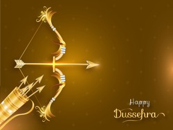 Happy Dussehra invitation card or poster design with 3d illustration of bow and arrows quiver on golden background.