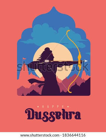 Happy Dussehra text with an illustration of Lord Rama bow arrow and temple background for Indian festival Dussehra