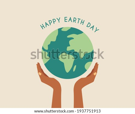 Happy earth day. African hands holding globe, earth. Earth day concept.Modern cartoon flat style illustration