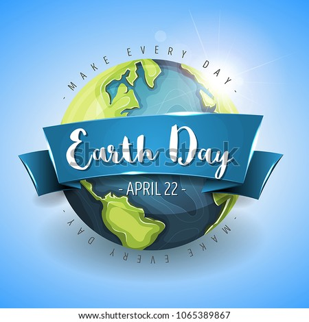 Happy Earth Day Background/ Illustration of a happy earth day banner, with 3d design planet on sky background, for environment safety celebration