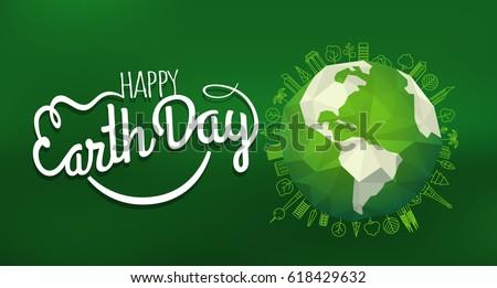 happy earth day concept vector