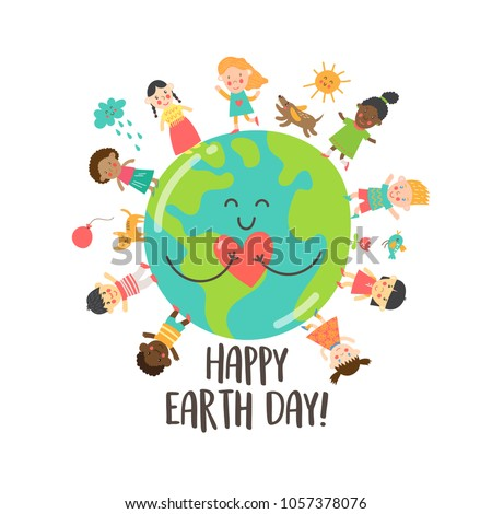 Happy Earth Day greeting card with children and cute cartoon Earth holding the heart.  Vector illustration.