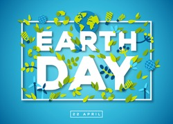 Happy Earth day typography design with abstract leaves, paper cut shapes and ecology icons. Vector illustration. Colorful environment elements thin square frame on blue background
