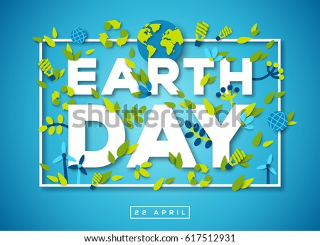 happy earth day typography