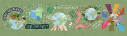 Happy Earth Day! Vector eco illustrations for social poster, banner or card on the theme of saving the planet, human hands protect our earth. Make an everyday earth day