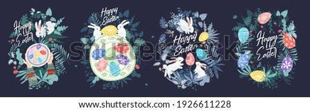 Happy Easter. A set of vector Easter illustrations. Easter eggs on a plate. Flowers, Easter eggs, rabbit. Spring flower illustration. Perfect for a poster, cover, or postcard.