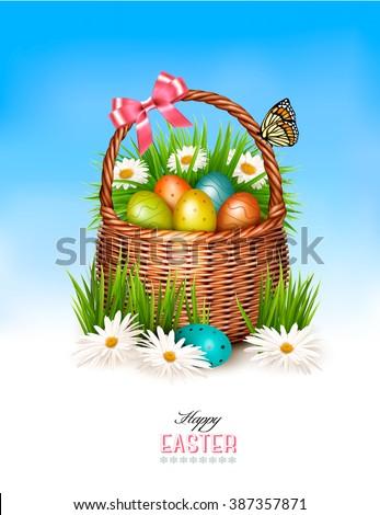 happy easter background basket