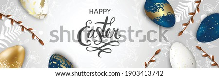 Happy Easter background with realistic golden shine decorated eggs, Willow, rabbit. Vector illustration greeting card, ad, promotion, poster, flyer, web-banner. Photo stock ©