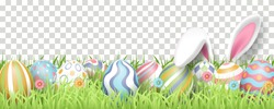 Happy Easter background with realistic painted eggs, grass, flowers, and rabbit ears. Vector illustration isolated on transparent background
