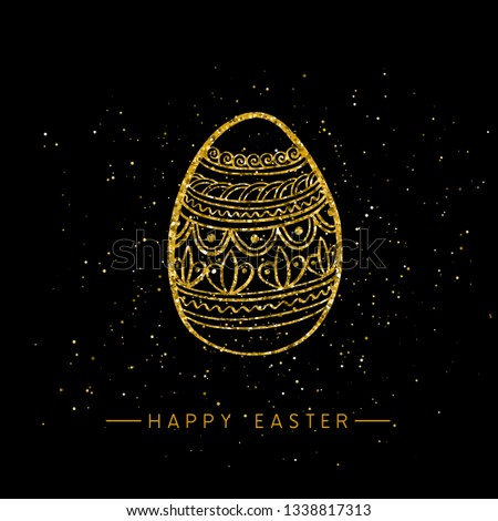 Happy Easter banner background template with beautiful golden egg. Vector illustration.