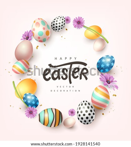 Happy easter banner background. Traditional colored easter eggs with different ornaments.