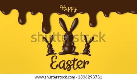 happy easter banner greeting card design with 3d chocolate rabbit figures and melted brown icing on yellow background
