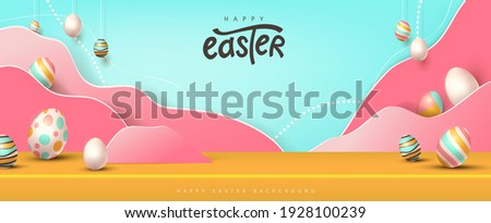 Happy easter banner studio table room product display with copy space. Traditional colored easter eggs with different ornaments.  Сток-фото ©