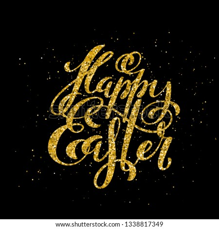 Happy Easter banner with handdrawn calligraphy.Template for poster with letttering. Vector illustration.