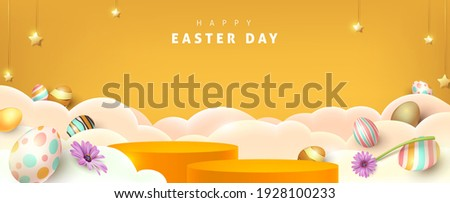 Happy easter banner with product display cylindrical shape and festive decoration for easter day.