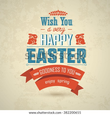 Happy Easter big label illustration in flat style. Vector illustration.