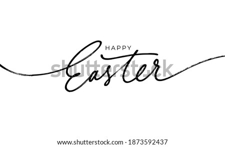 Happy Easter black linear lettering with swooshes. Hand drawn elegant modern vector calligraphy. Design for holiday greeting card and invitation of the happy Easter day. Greeting card text template.