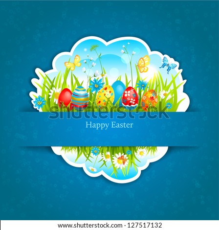 Happy Easter blue background with shadow. Space for text - stock vector