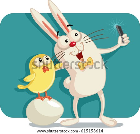 happy easter bunny and chick