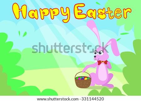 happy easter card bunny basket