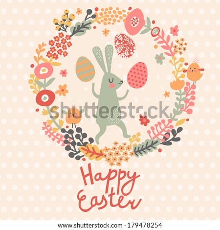 Happy easter card in spring colors Funny rabbit with holiday eggs in flowers Bright floral background in cartoon style in vector