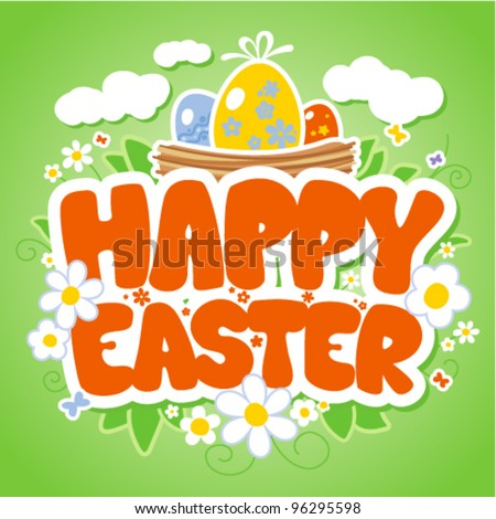 Happy Easter card template, basket with colored eggs and flowers. - stock vector