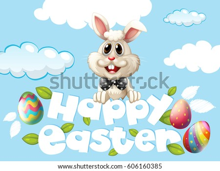 happy easter card template with