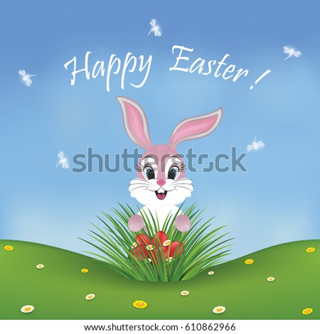 happy easter card with a cute