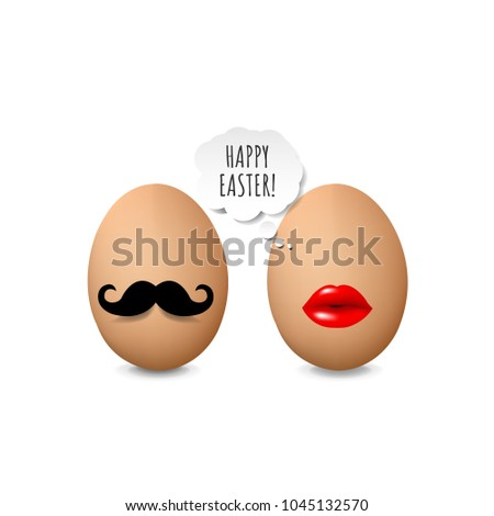 Happy Easter Card With Eggs With Gradient Mesh, Vector Illustration