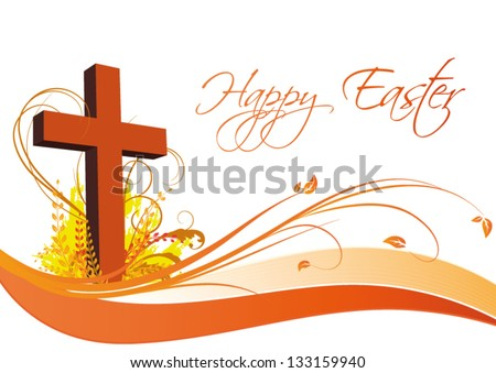 Happy Easter Cross Stock vector happy easter card