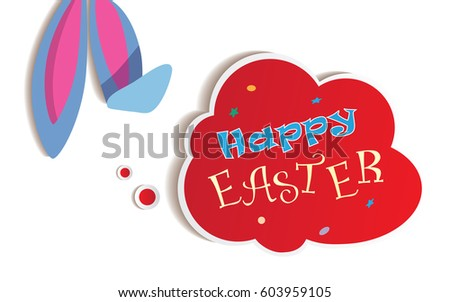 happy easter card with text in
